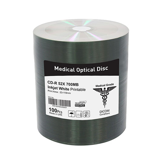 Medical optical disc, cd-r inkjet printable for medical use, DICOM compliant